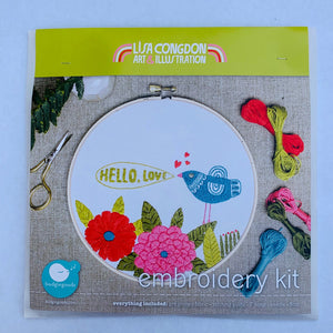 Lisa Congdon Embroidery Kit Hello Love
