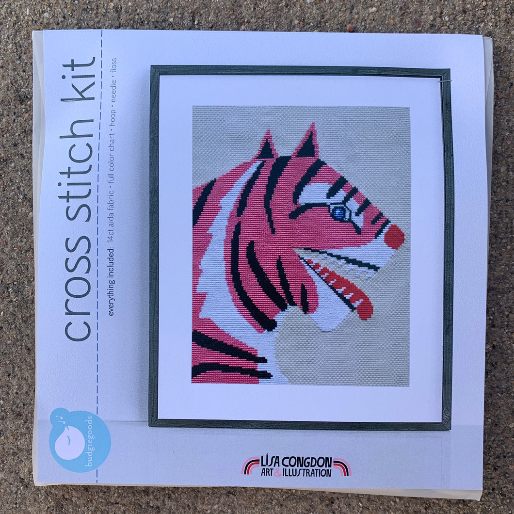 Lisa Congdon Cross Stitch Kit Pink Tiger