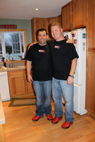 "Chris and Ethan wearing brand spanking new West3 T-shirts. ""What should I rub it on"" on the back"
