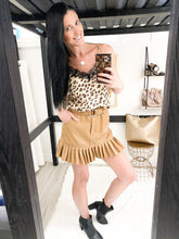 Load image into Gallery viewer, Faux Leather caramel frill skirt 26706