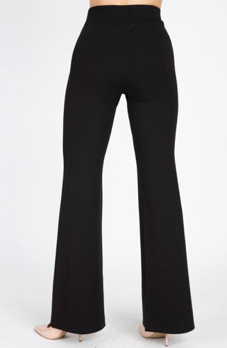 Highwaist Banded Flare Pant Black 00138