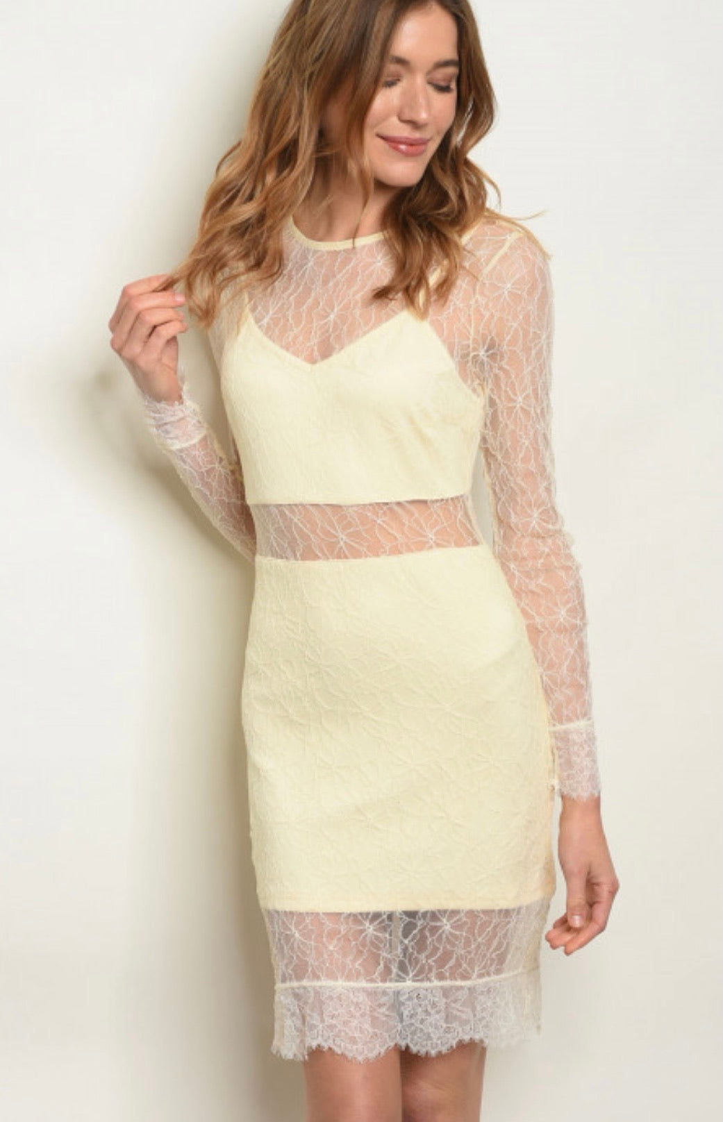 Cream lace dress 00141