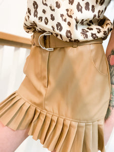 Faux Leather caramel frill skirt 26706