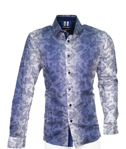 Mens Barabas blue/white Paisley