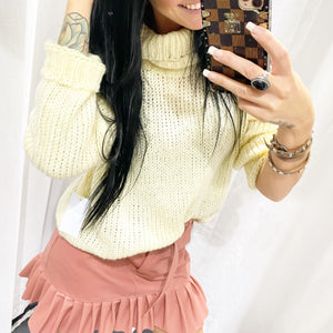 Cream large knit Turtleneck 40035