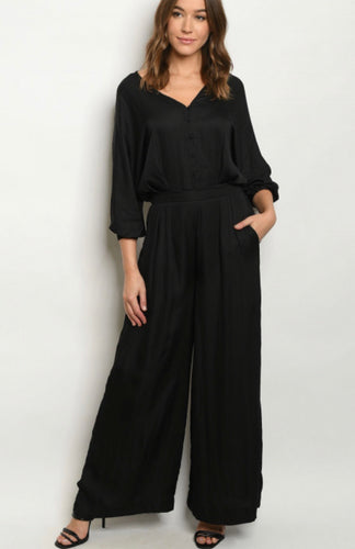 Black Satin Jumpsuit 00092