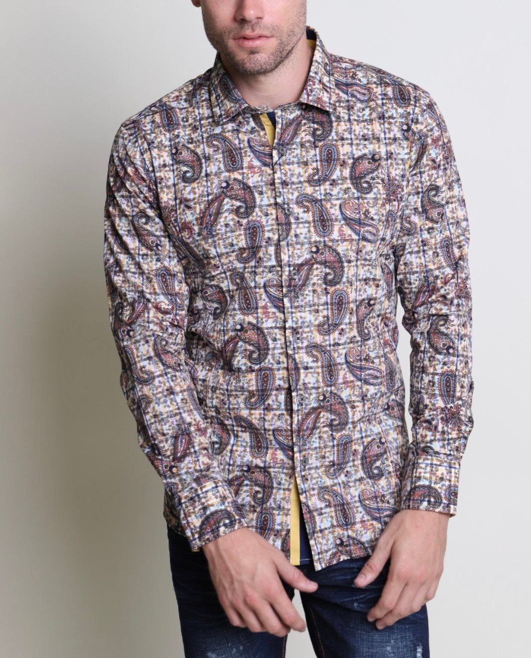 Mens Barabas multicolor paisley button up 40060