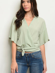 Sage wrap around top 26841