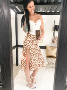 Satin Zebra Camel skirt