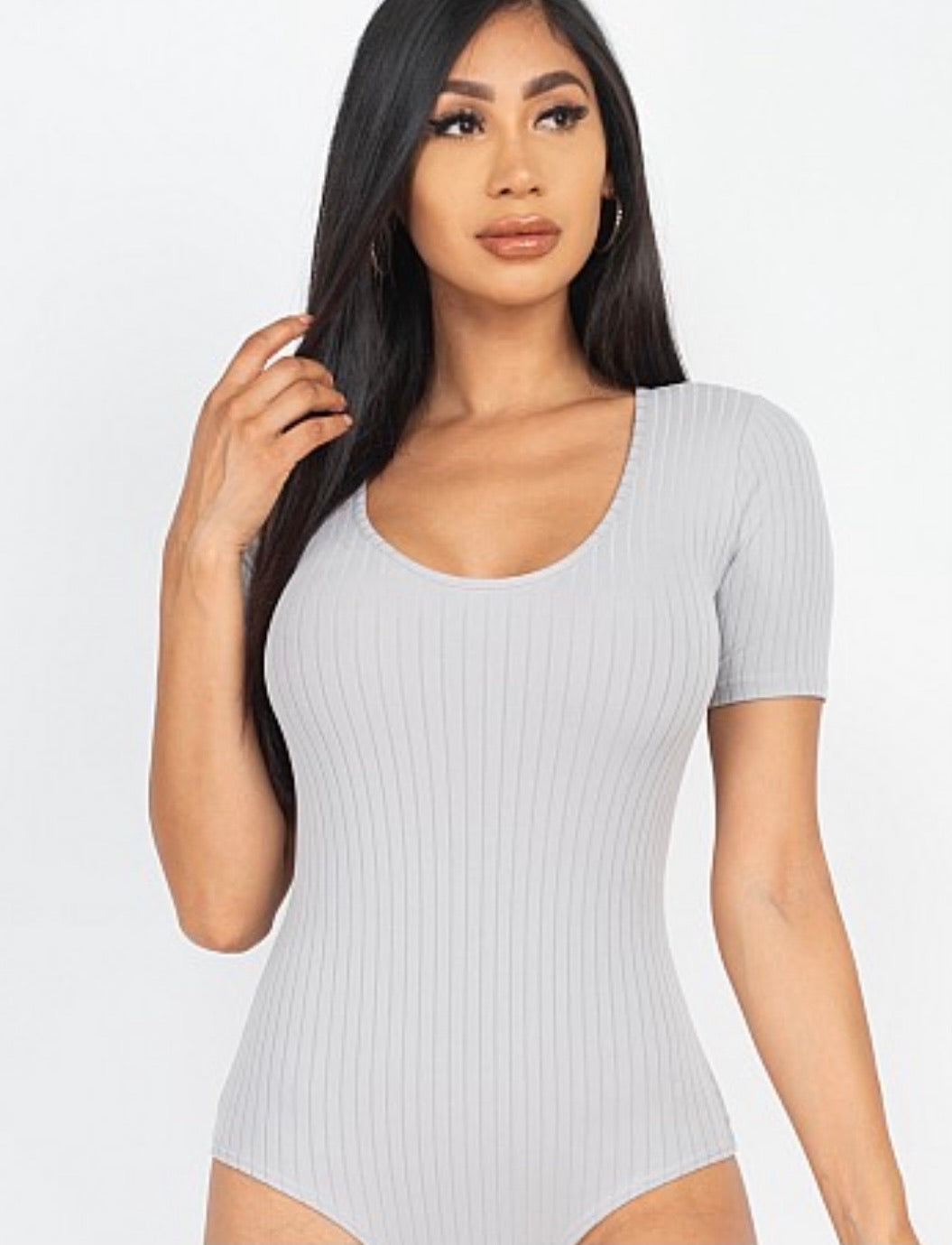 Grey ribbed scoop neck bodysuit 01267