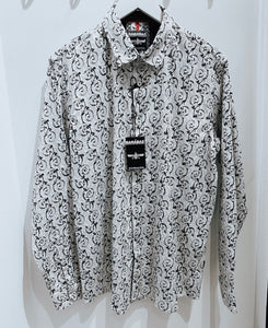 Mens Barabas white abstract button up 40072