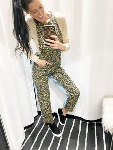 Leopard olive / nude denim overall 40099