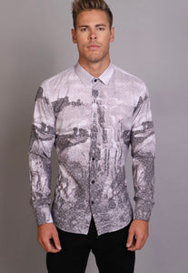 Grey/White abstract Barabas Button up