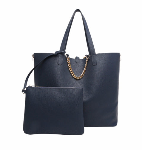 Reversible navy /metallic blue  travel bag