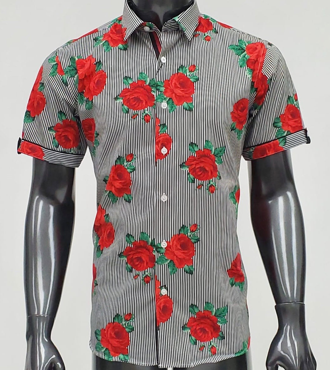Black/Red Roses Barabas Button up 00029