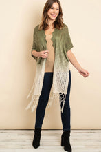 Load image into Gallery viewer, Knit Ombre olive Kimono 00130