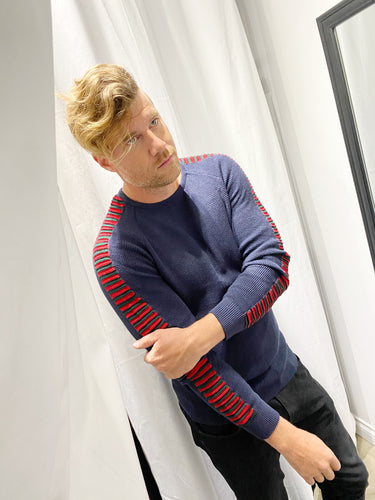 Mens Ribbed Navy sweater 40048