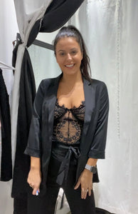 Black Satin Blazer 30051