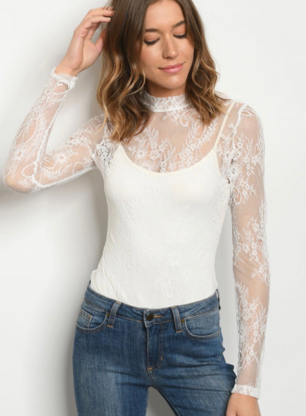 White lace bodysuit 40058