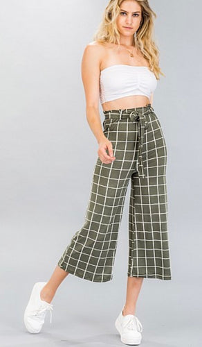 Olive checkered high waist culottes 01448