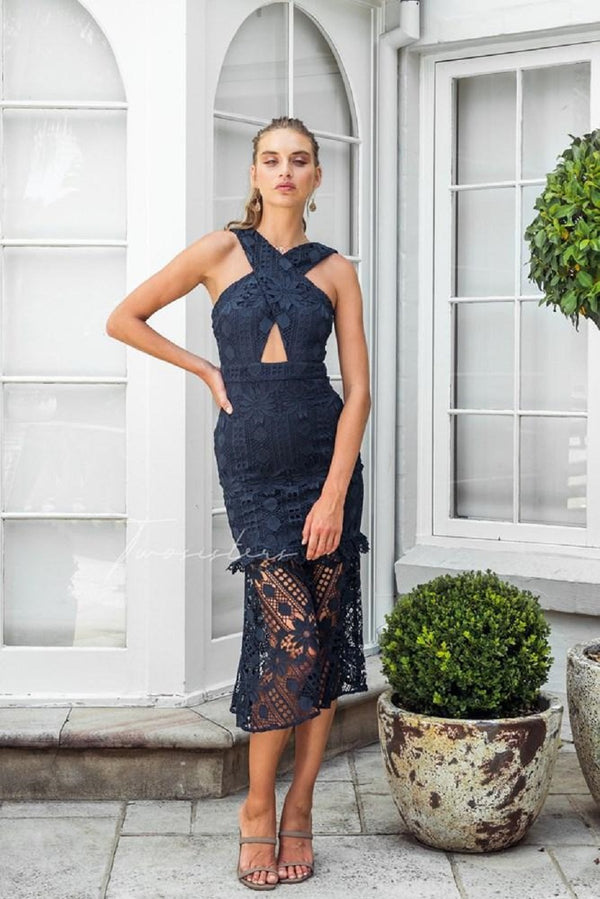 Isabella Lace  Dress In Navy