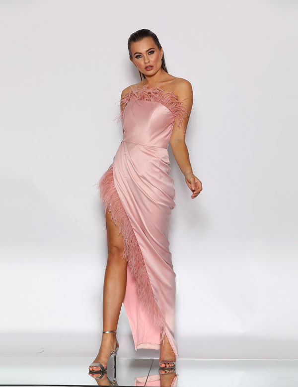 Hazel Feather Gown by Jadore in Dusty Pink