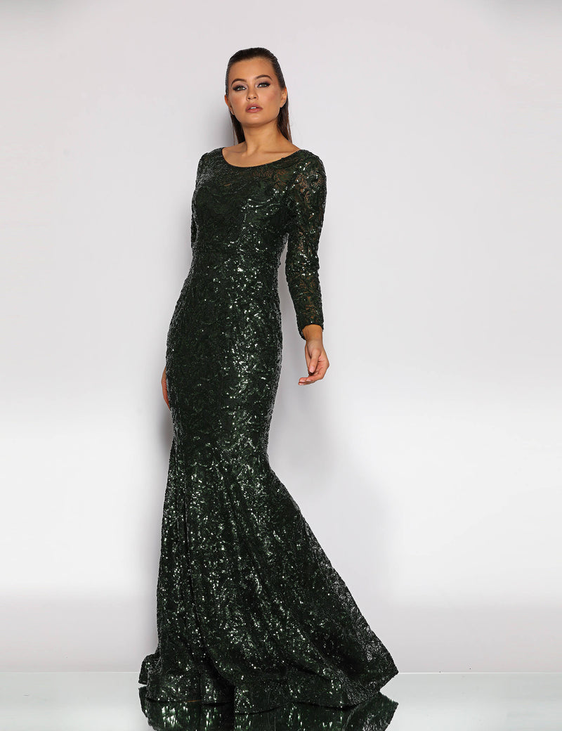 Iris Gown by Jadore in Emeral Green