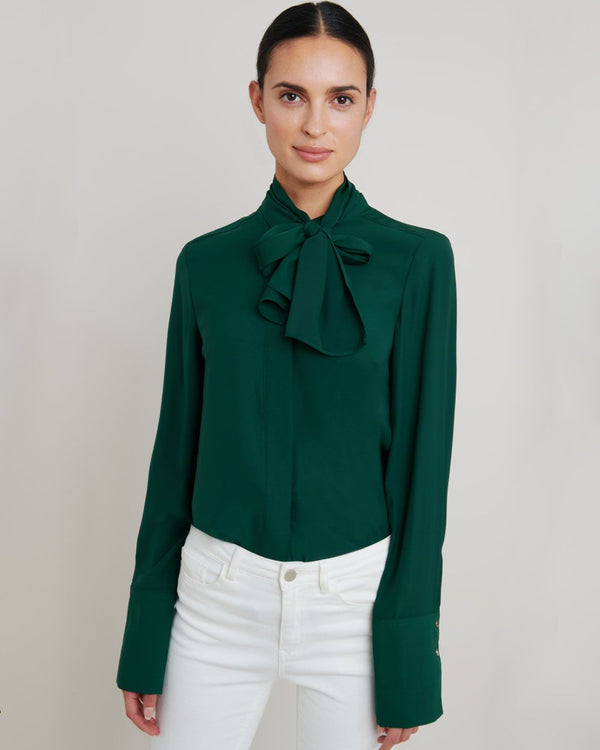 Amy Detachable Scarf Blouse  - Green