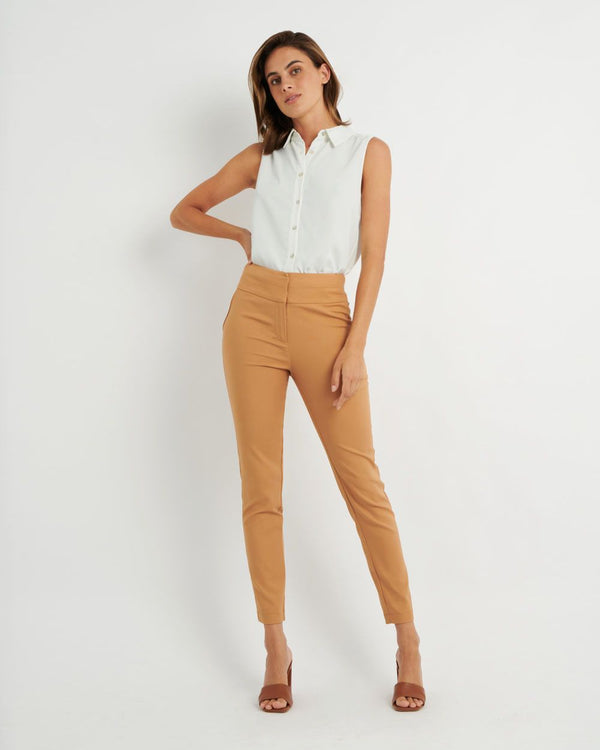 Myah Double Waistband Pant - Latte