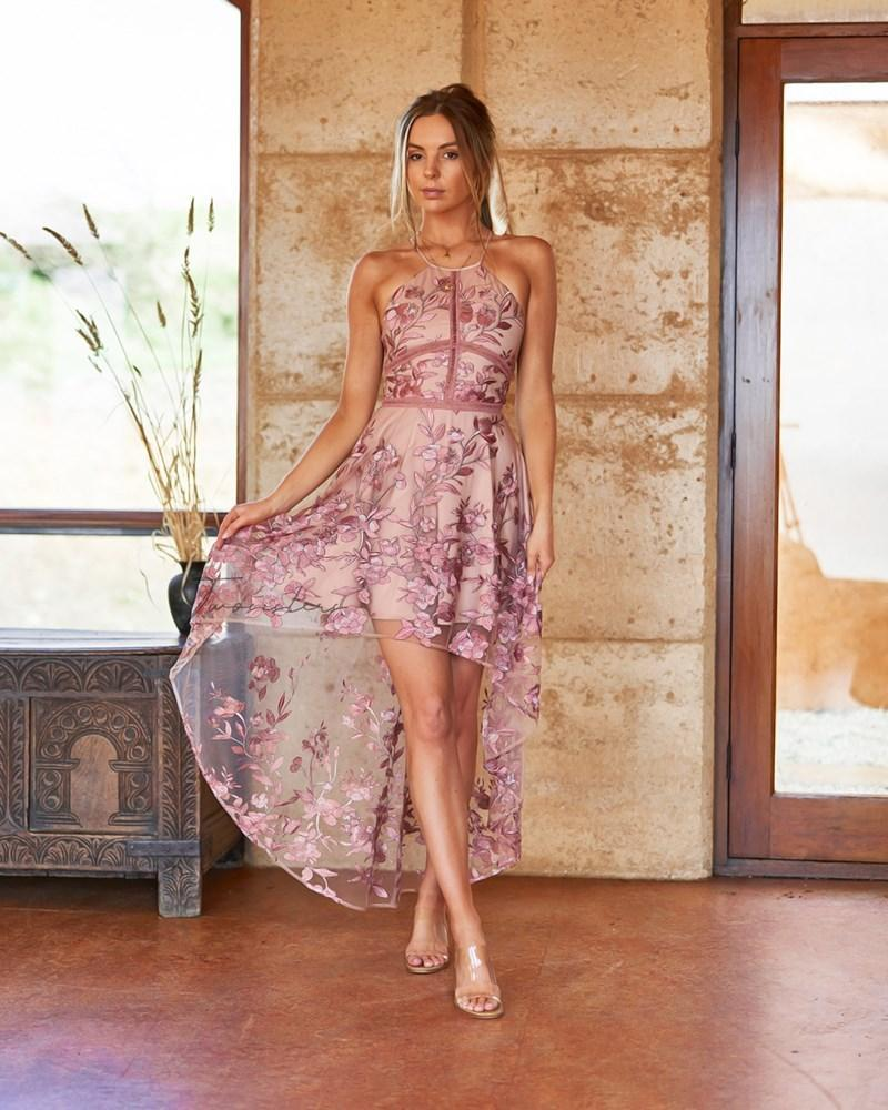 Jennifer Dress In Pink Embroidery