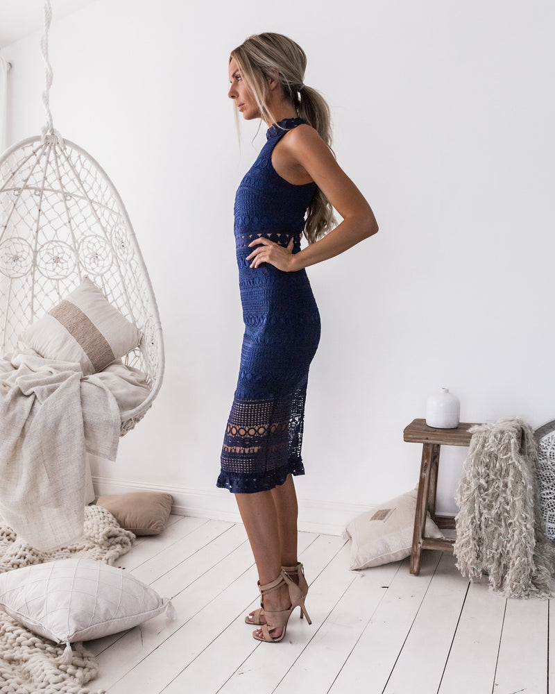 Rivers Midi Dress In Navy