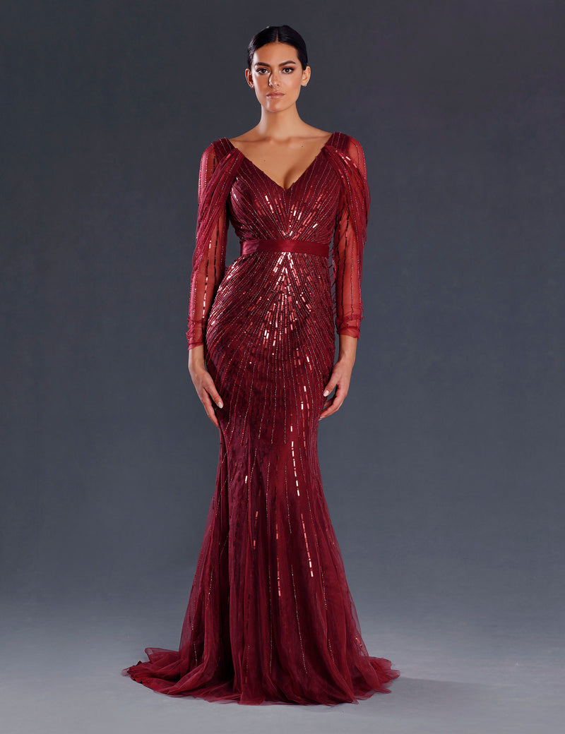 Sparke Gown By Jadore In Wine