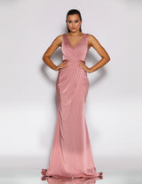 Reinee Drape Gown by Jadore in  Antique Pink