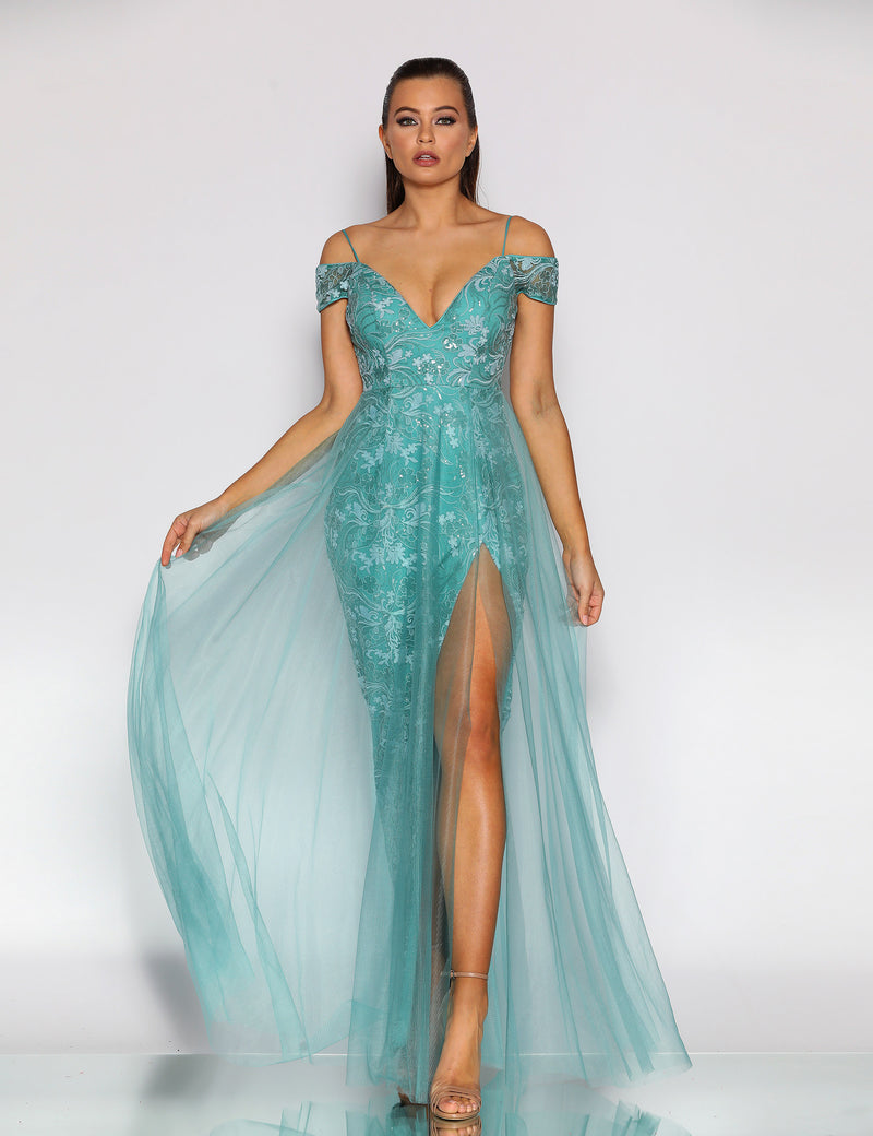 Gemstone Gown by Jadore in Turquoise