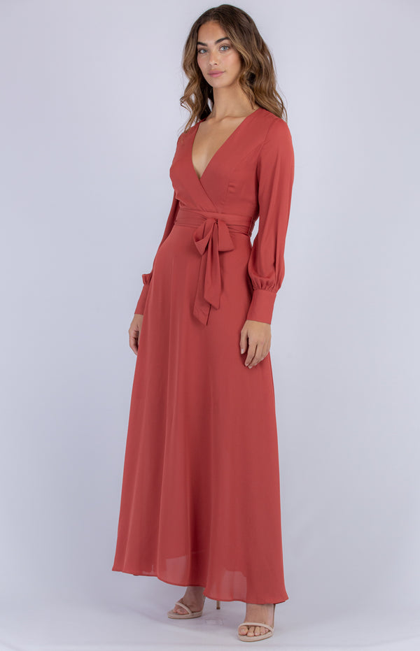 Samera Long Sleeve Maxi Dress - Cherry