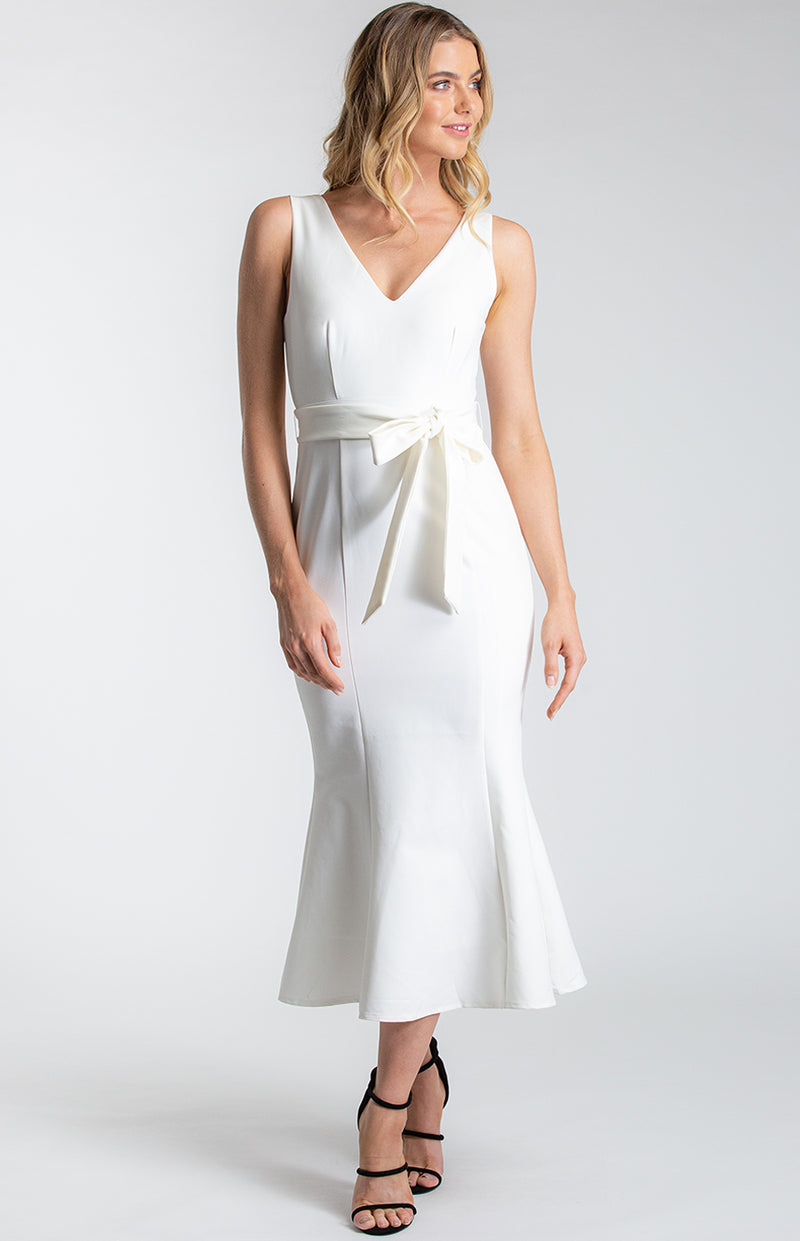 Ambar Midi Dress in white