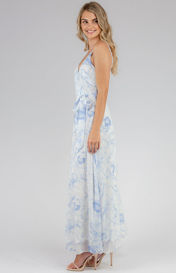 Angelina Maxi Dress -Blue floral Print