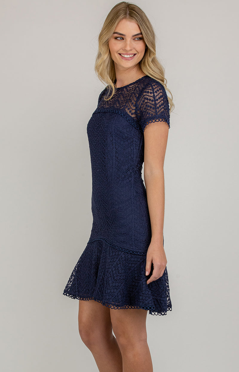 Darling Lace Dress In Navy