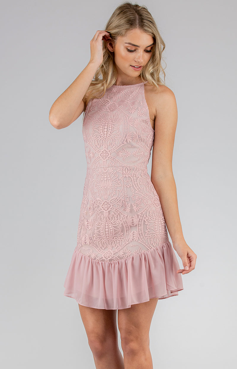 Shayla Mini Dress In Blush