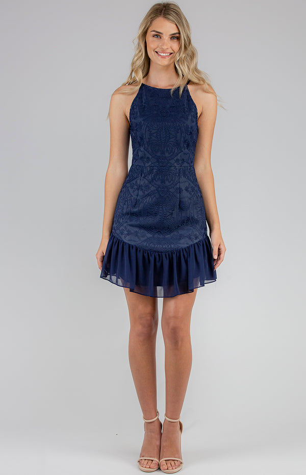 Shayla Mini Dress In Navy