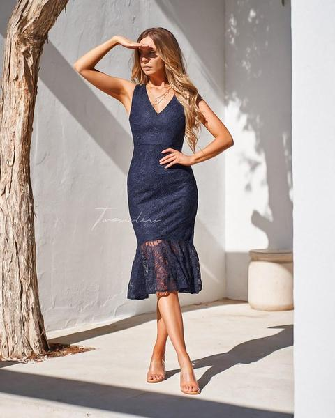 Bridget Lace Dress - Navy
