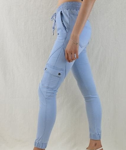 Zoe Cargo Chino Jeans - light Blue