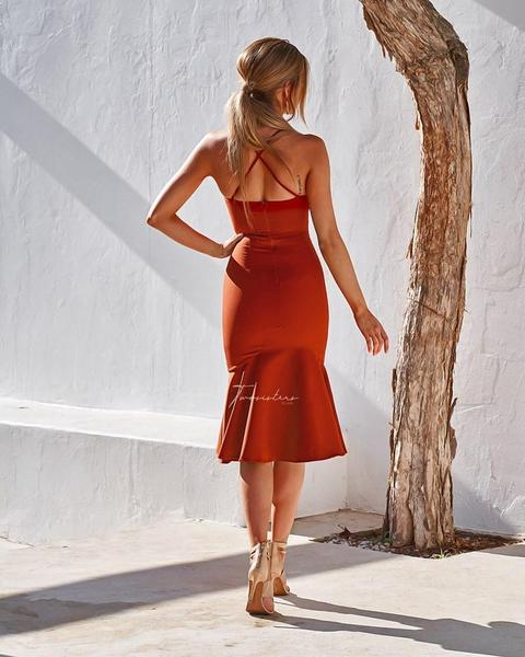 Eveleen Midi Dress - Burnt Orange