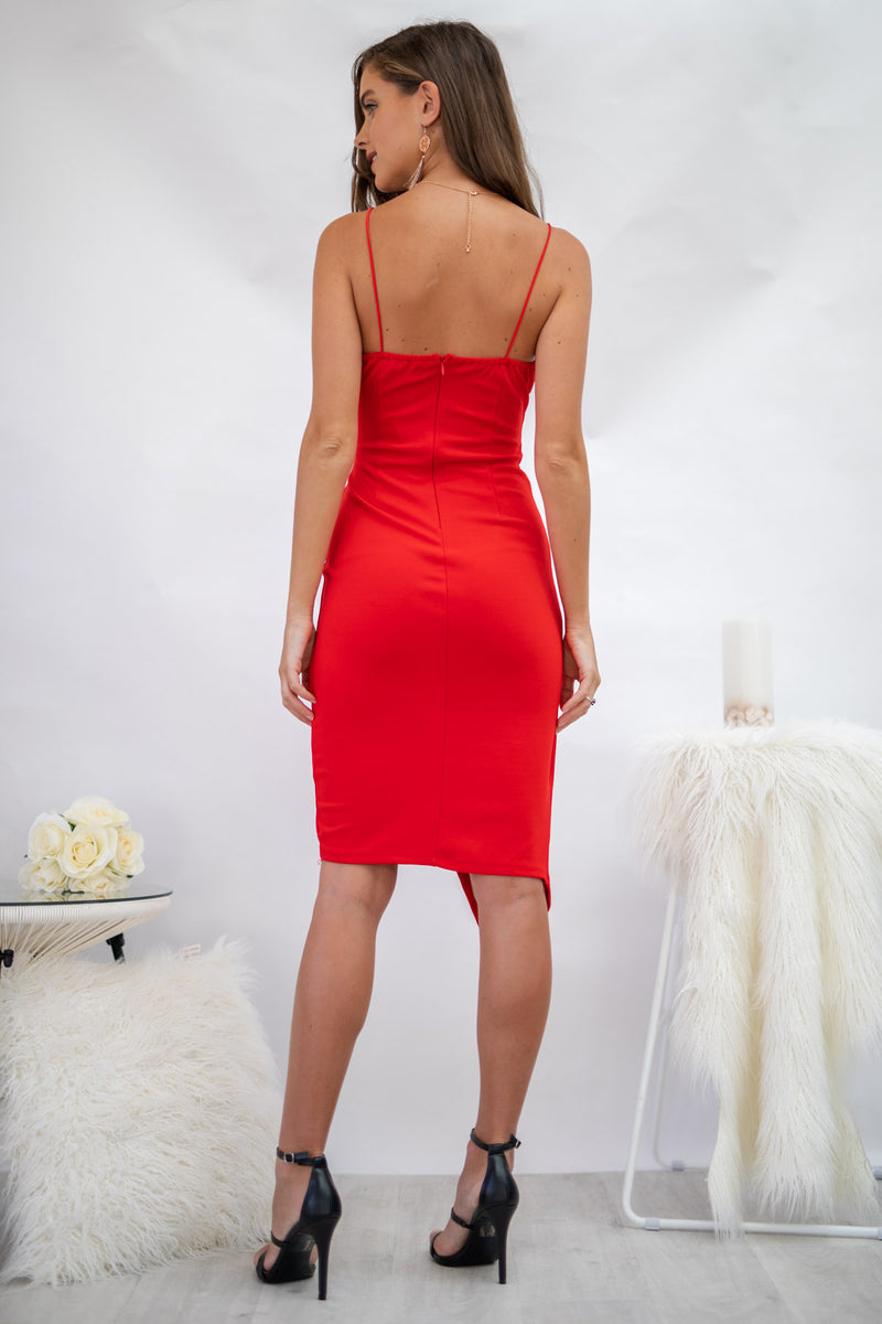 Glamour Day Dress In Red