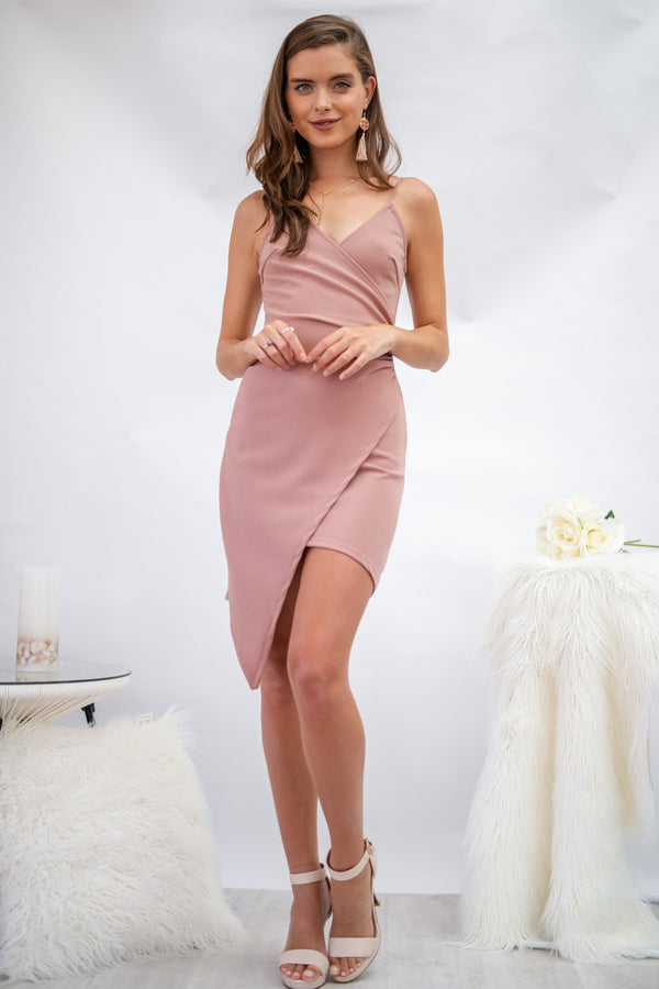Glamour Day  Mini Dress in Dusty Pink