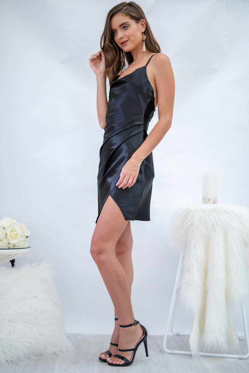 Waterfall Dress in Black