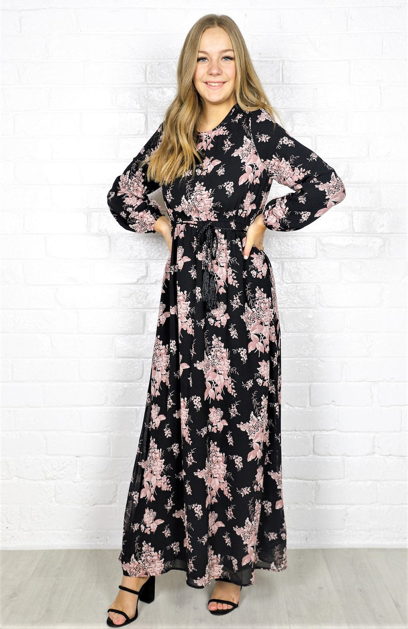 Cami  Maxi Dress -  Black Floral