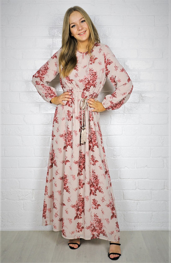 Cami  Maxi Dress -  Beige Floral