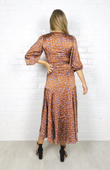 Betty Wrap Dress - Rust leopard