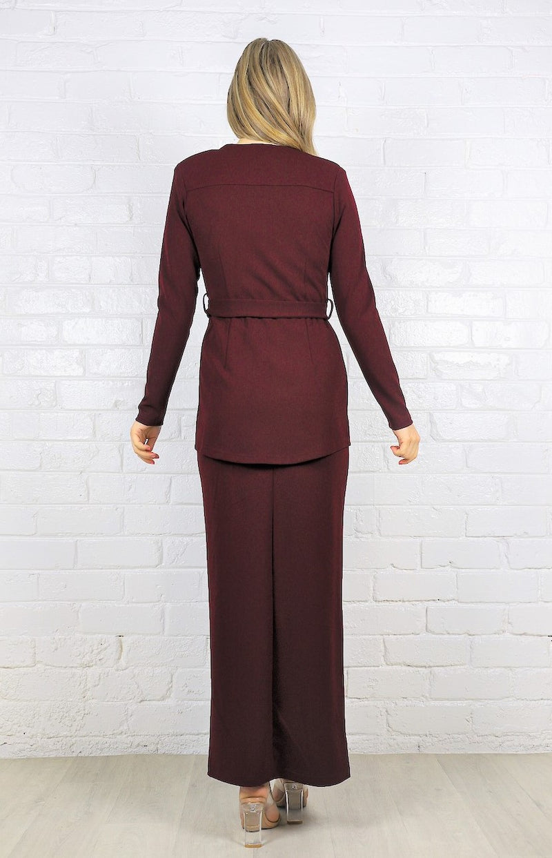 Kara Maxi Straight Skirt - Burgundy